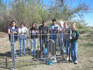 National Honor Sosiety members at th group's first cemetery clean-up day at Coronado cemetery in November, 2006, included (L-R) Jacqueline Robles, Edith Diaz, Diana Gomez, Joan Robles, Randolph Gamez, Thomas Murphy, Camille Mohle, and Heather Reynolds.