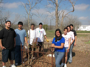 "National Honor Society members from Lehman High School participating in the group's second ""RIP Guardian Program"" workday at Coronado Cemetery, held in March, 2007, included, L-R: Ricky Saiz, Randolph Gamez, Manny Calderon, Mallach Gallegos, Jacqueline Robles, Edith Diaz, Lisa Padron, and Diana Gomez."