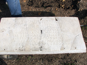 The handcrafted marble tombstone, almost lost to time and disintegration, was professionally reconstructed by stone conservator Don Hudson and returned to its site at Coronado Cemetery in the fall of 2008.