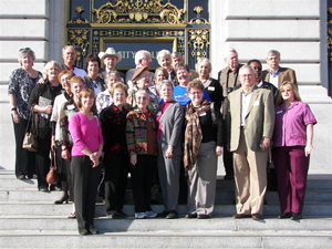 The full HCHC contingent gathered for a photo on the steps of San Francisco City Hall just before touring the magnificent building and meeting with the San Francisco sheriff.